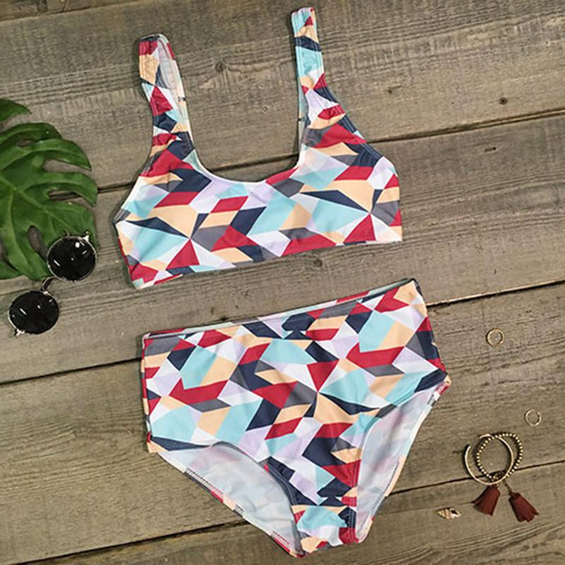 High Waisted Poly Bikini Set