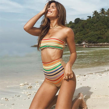 Rainbow High Waisted Bikini Set