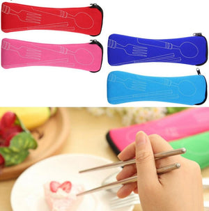 Portable travel cutlery pouch