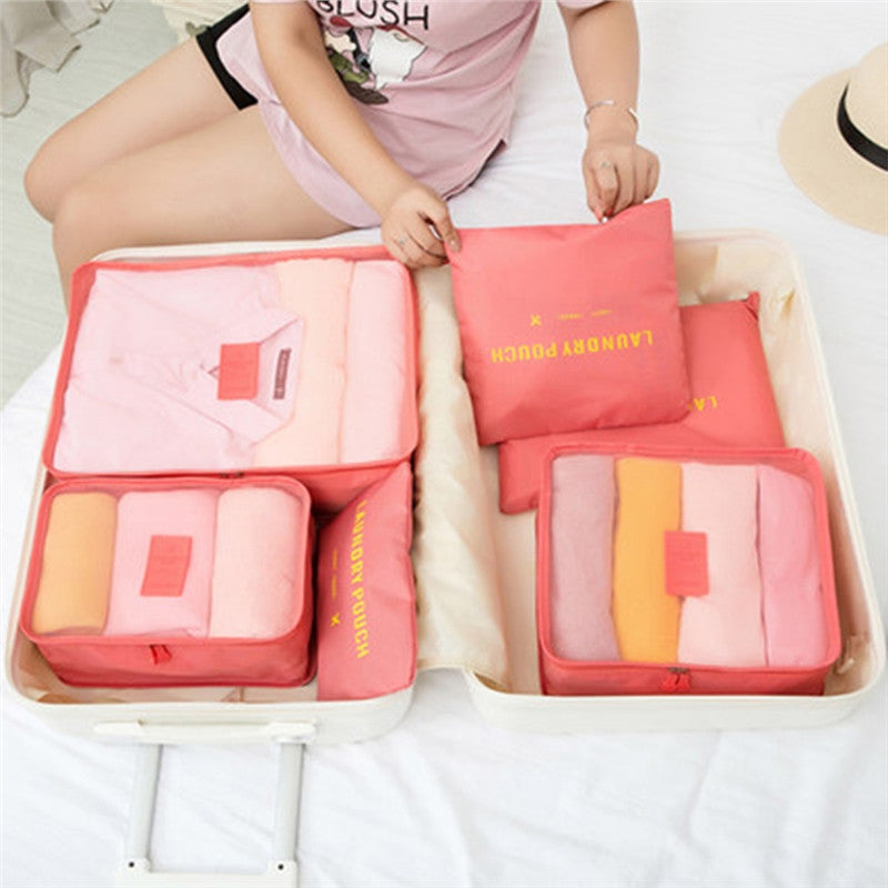 Travel luggage packing organizer cubes and storage bags (6 pcs)