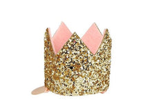 Load image into Gallery viewer, Mini Gold Glitter Crown Hair Clip