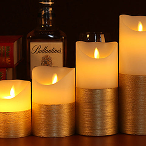 3Pc Gold and Ivory LED Candle Set