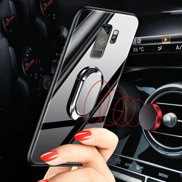 Glass 360° Rotation Ring Kickstand Magnetic Protective Case for