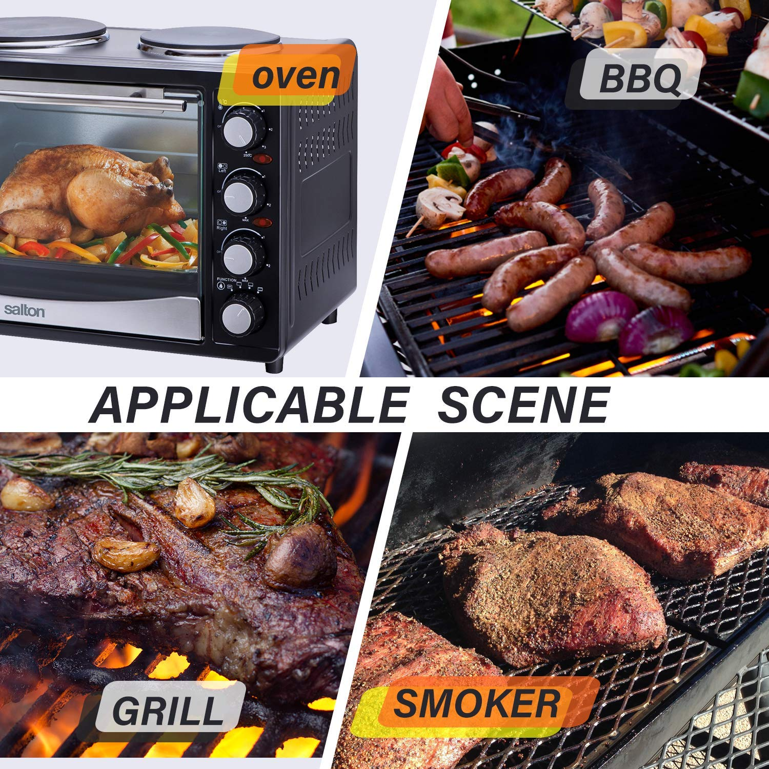 Inkbird Waterproof Wireless BBQ Grill Thermometer IBT-4XP IBT-4XC Thermometer with Four Probes, Orange W//Timer Magnet for Grill Barbecue Thermometers BBQ Oven Smoker,1000mAh Li-Battery