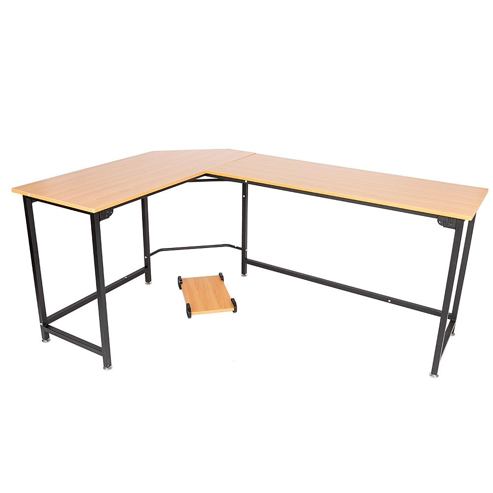 Wondrous L Shaped Desktop Computer Desk Flat Angle Wood Color Board Black Metal Legs Download Free Architecture Designs Scobabritishbridgeorg