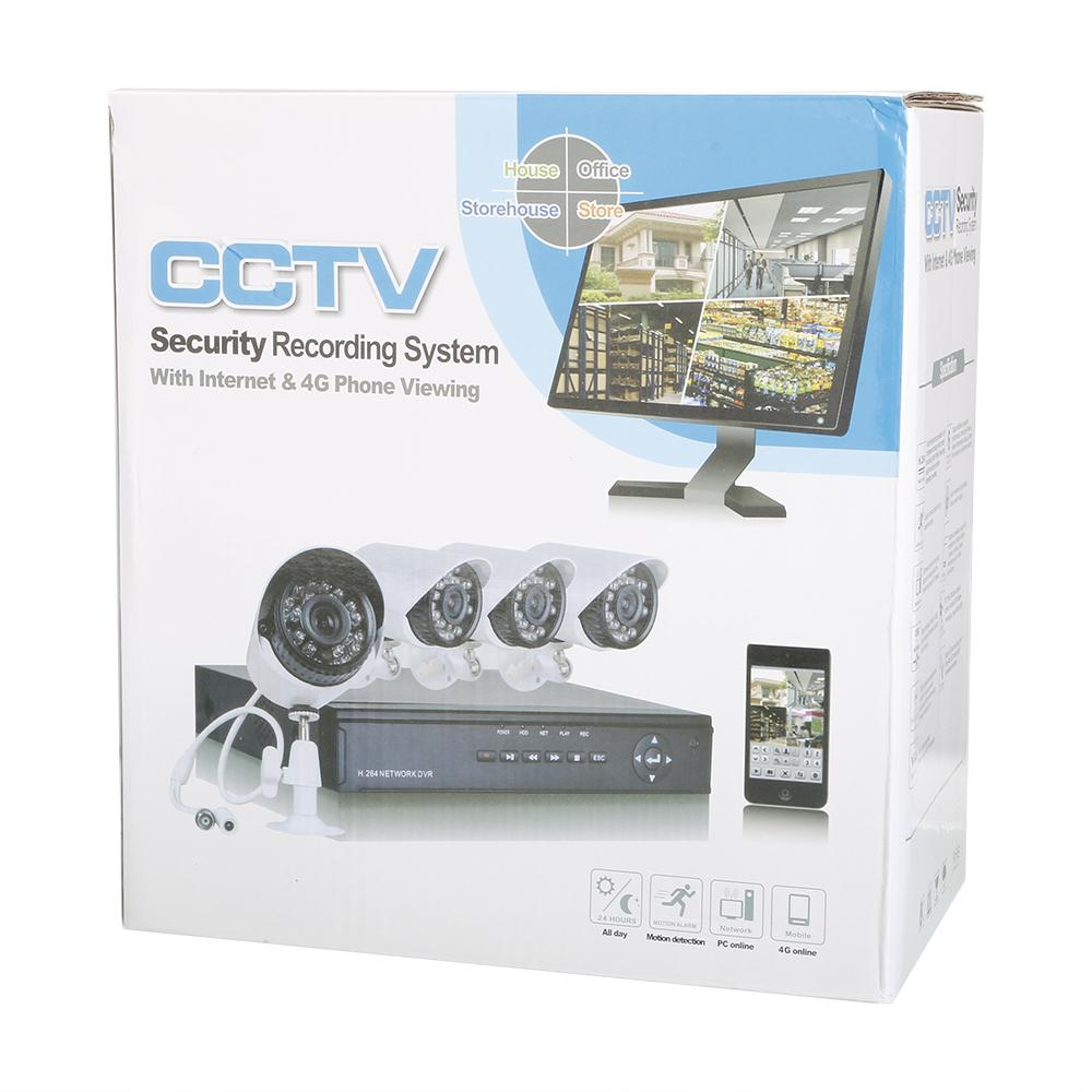 Hodely 4-Channel 1080N H Indoor//Outdoor DVR Kit with 4pcs 720P 1//4 Color CMOS Ca