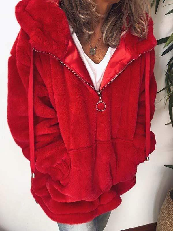 wiccous.com Plus Size Fur Coats Red / L Plus Size Faux Fur Hooded Jacket