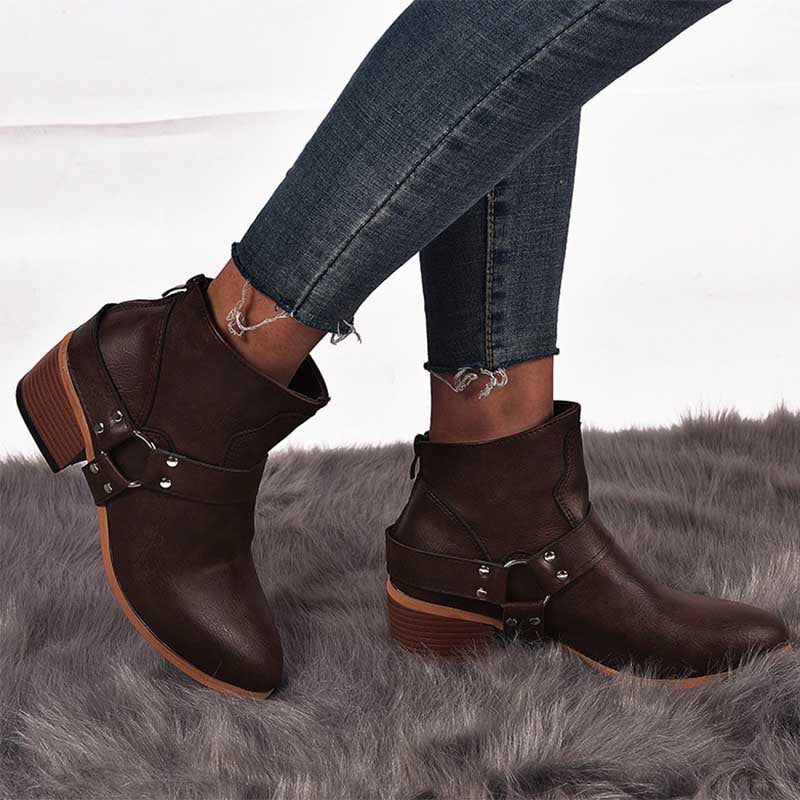 Women's Vintage Solid Color Martin Boots