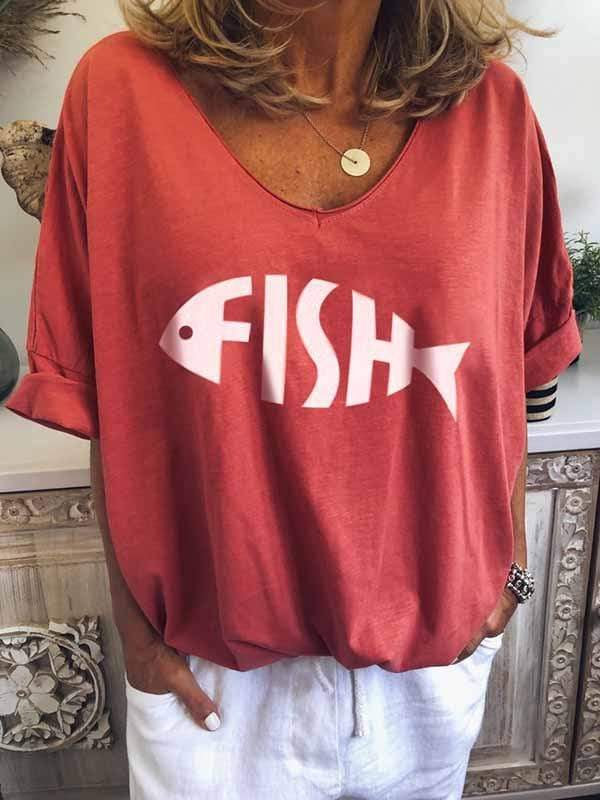 wiccous.com Plus Size Tops Red / S Fish Bone Print T-Shirt