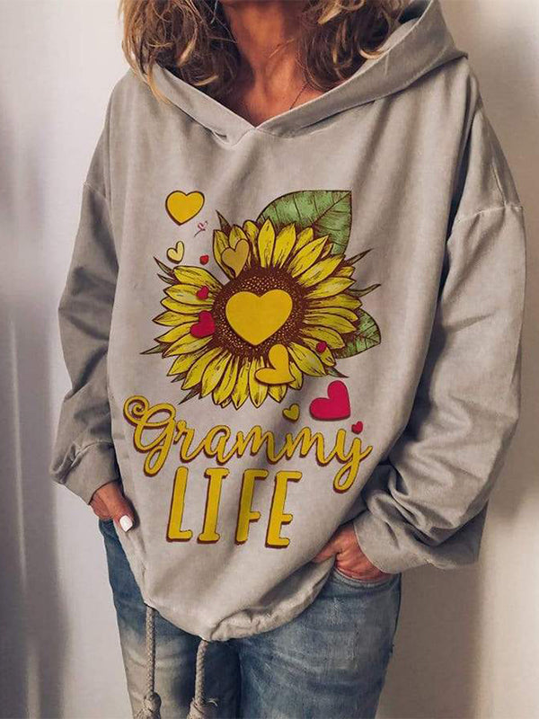 Sunflower LIFE Printed Hooded Sweatshirt