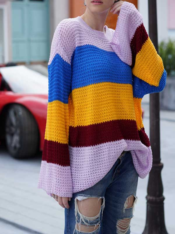 Loose Pullover Striped Rainbow Sweater