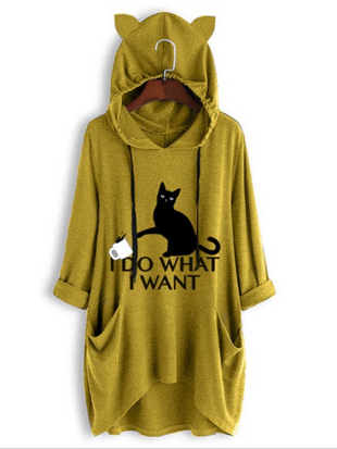 Irregular Cat Print Hooded Sweater