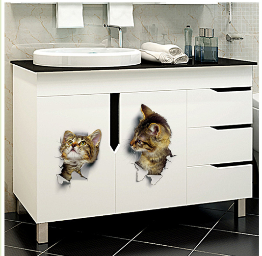 3D Vivid Pet Bathroom Toilet Sticker