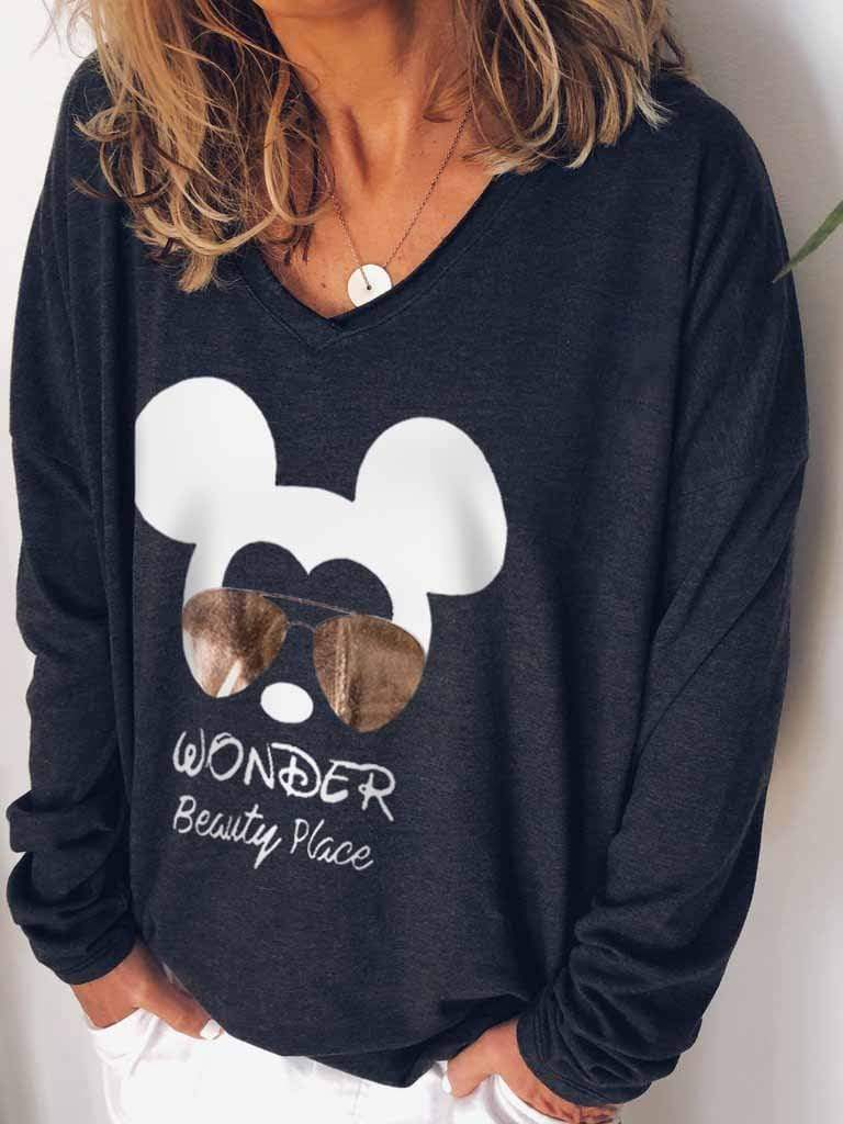 wiccous.com Plus Size Tops Black / S Mickey Print Long Sleeves