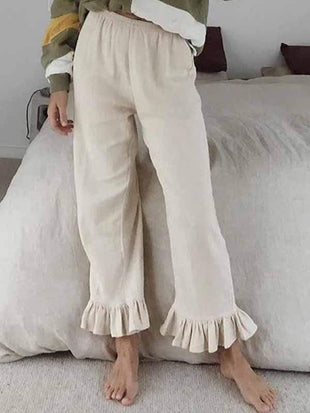 wiccous.com Plus Size Bottoms,Bottoms White / S Cotton linen ruffled flared pants