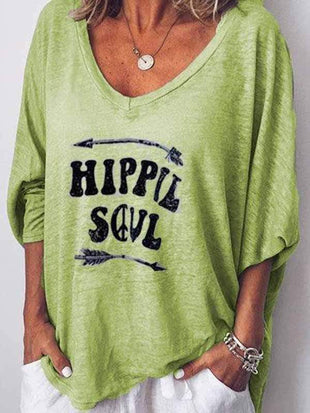 wiccous.com Plus Size Tops Green / S HIPPIE SOUL Printed Long Sleeve Blouses