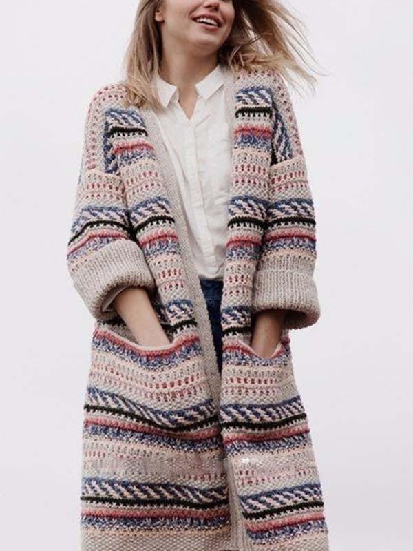 Ladies Striped Long Knit Jacket Coat