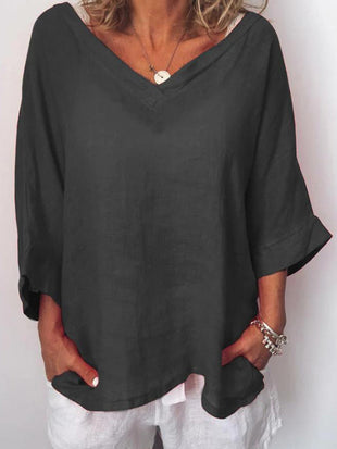 Casual Solid V Neck 3/4 Sleeve Tops