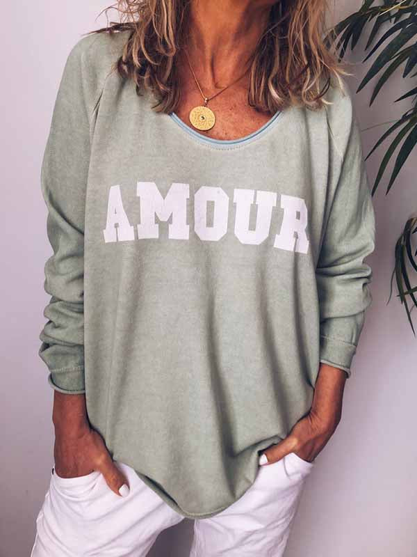 AMOUR Letter Print Long Sleeve T-Shirt