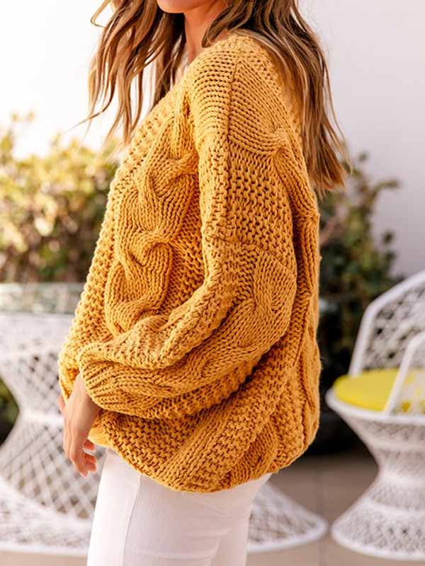 Twisted Rope Solid Color Loose Round Neck Sweater