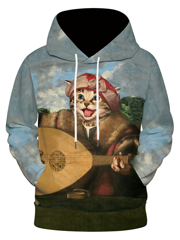 Funny Cat Oil Painting 3D Printed Sweater