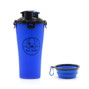 2 in 1 Portable Travel Dual Chambered Pets Drinking Cup Dispenser Mug and Food Container
