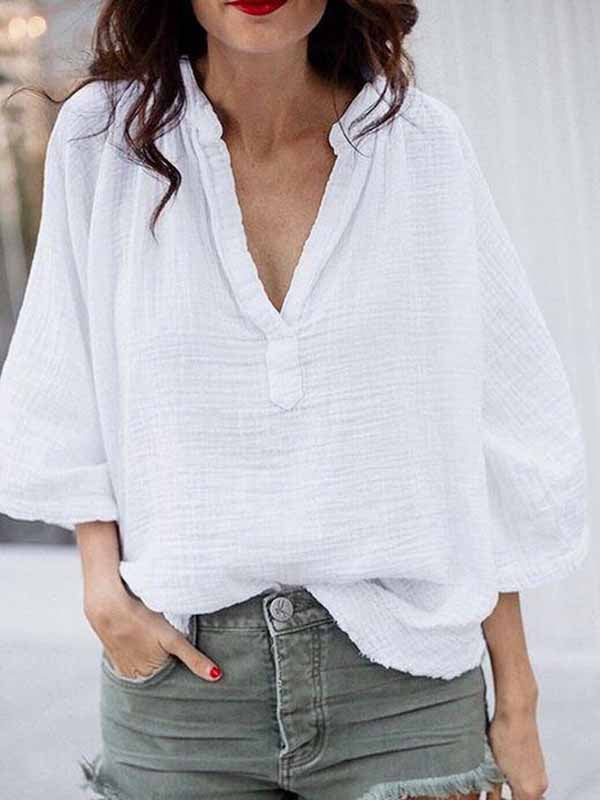 Solid Color Collar Linen Top