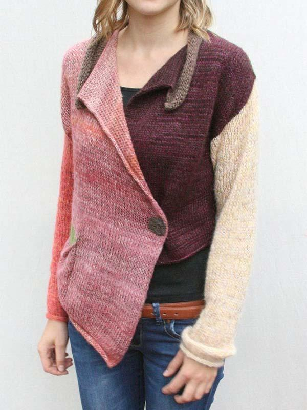 Women's Multi-Color Stitching Wool Coat