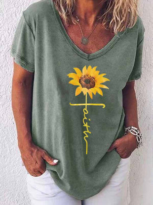Sunflower Letter Print T-Shirt