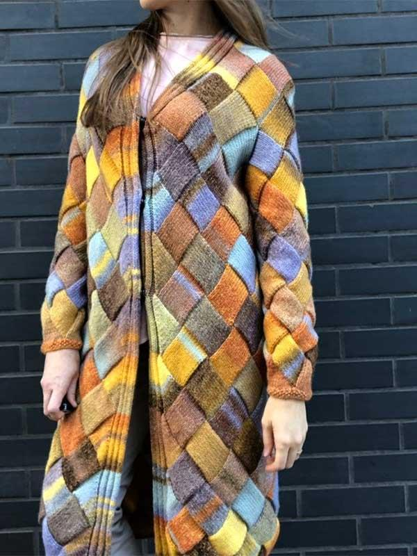 Ladies Yellow Gradient Stitching Long Wool Coat