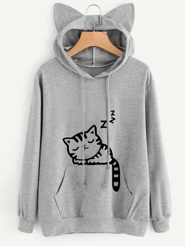 Loose Print Cat Print Hooded Sweater