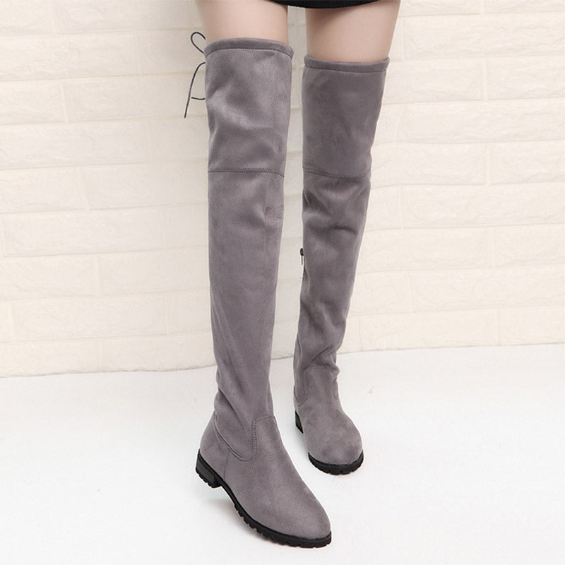 Women's Solid Color Over-the-Knee Boots