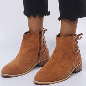 Ladies Solid Color Vintage Short Martin Boots