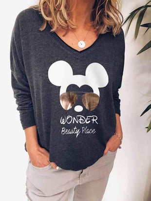 wiccous.com Plus Size Tops Mickey Print Long Sleeves