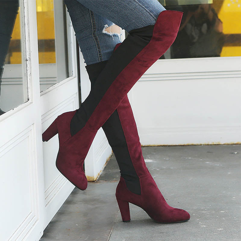 Women's Color Matching Over-the-knee Thick Boots