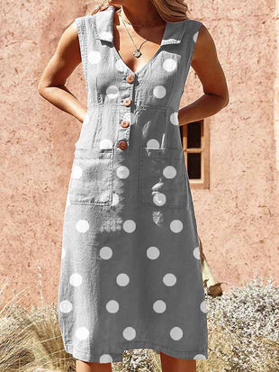 Casual Polka Dot Buttoned Lapel Pocket Dress