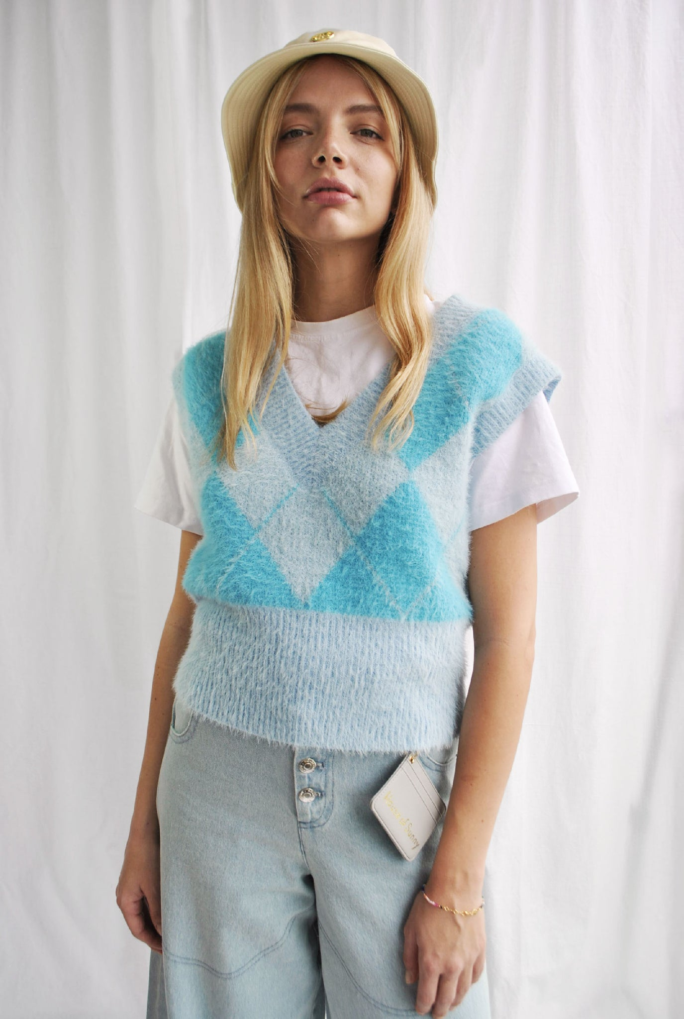 Blue Heritage Diamond Knit Sweater With Removable Sleeves