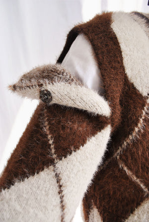 *LAST PIECE* Brown Heritage Diamond Knit Sweater With Removable Sleeves UK10