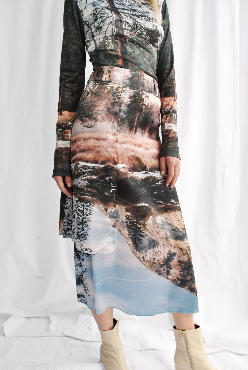 Silky Nature Forage Print Skirt