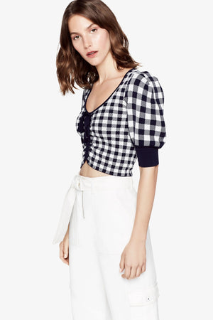 Gingham Knit Crop Top