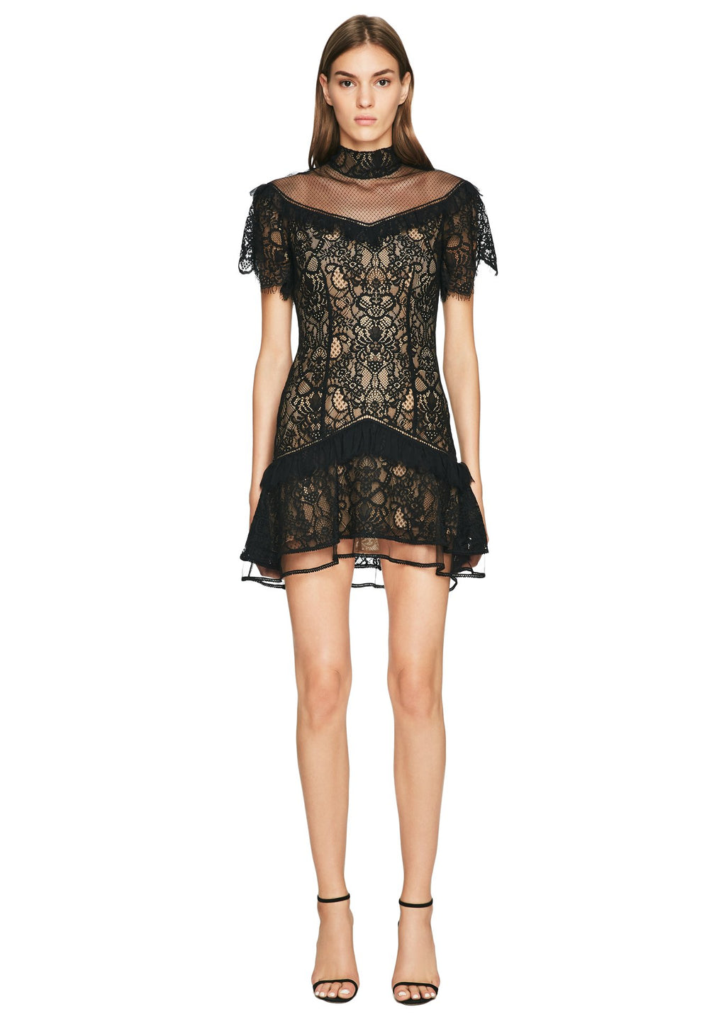 Mixed Lace Mock Neck Mini Dress