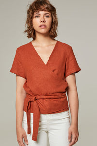 *LAST PIECE* Myrtos Linen Crossed Top Size 10