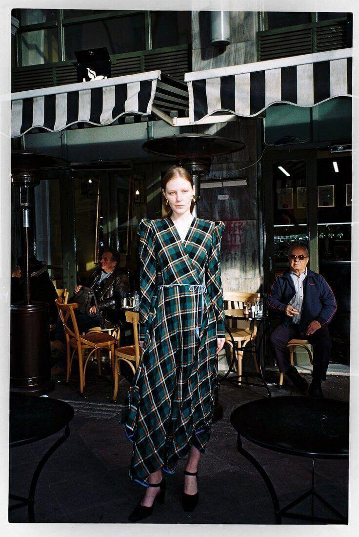 Green Plaid Napkin Dress