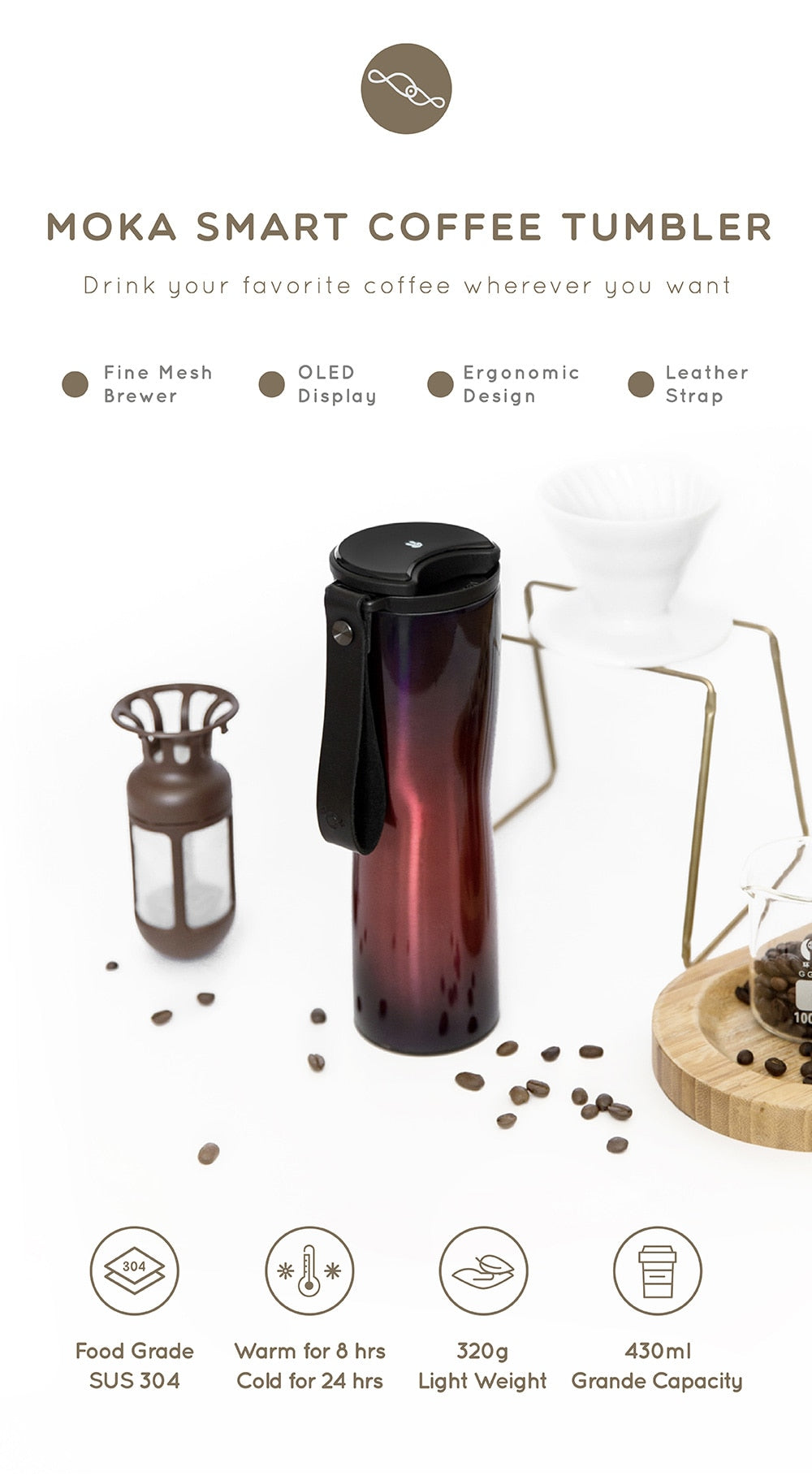 Smart Steel Cup480mlPortable Mugthermos With Stainless Bottle Oled Touch Travel Screen Nw0OX8nPk