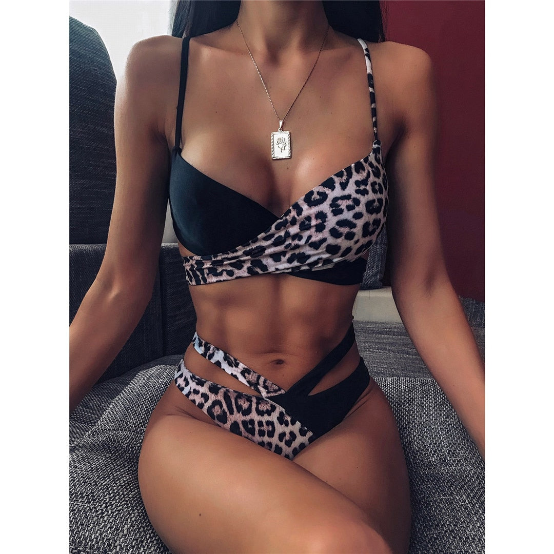 Half Leopard Printed Two Piece Bikini Set