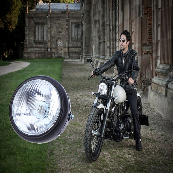 Motorcycle 35W 6-Inch Hi/Low Halogen Headlight W/Amber LED Turn Signal Lamp For CG125 GN125 CG200 Cafe Racer Bobber Custom
