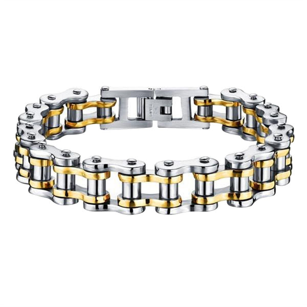 Titanium Steel Biker Mens Bracelet Link Chain Motorcycle Bike Bicycle Chain Bracelets Jewelry