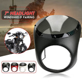 7Inch Universal Protective Motorcycle Retro Cafe Racer Front Headlight Fairing+Screen Windshield Mounting Cover For Harley