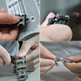 9in1 Stainless Steel Multifunction Bracelet Wristband Screwdriver Bottle Opener Outdoor Survival Emergency Tools Lightweight Wristband Silver/black