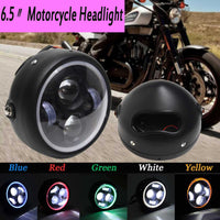 1pcs Motorcycle LED Angel Eye High Low Beam for Harley Headlight Lamp Universal Front Light Cafe Racer Red Blue Yellow Green